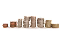 Pilas de dinero inglés Fotos de archivo