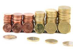 Pilas de Eurocoins Imágenes de archivo libres de regalías