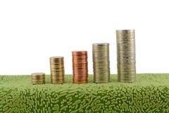 Pilas de fondo del blanco de las monedas Imágenes de archivo libres de regalías