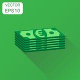 Pilas de icono euro del efectivo Pictograma euro del dinero del concepto del negocio stock de ilustración