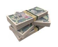 Pilas de 1000 japoneses Yen Isolated Fotografía de archivo libre de regalías