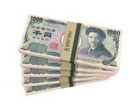 Pilas de 1000 japoneses Yen Isolated Imagen de archivo