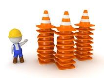 pilas de la demostración del carácter 3D de conos anaranjados del camino stock de ilustración