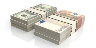 pilas de la representación 3d de billetes de banco del euro y del dólar ilustración del vector