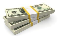 Pilas de las cuentas de dólar Fotografía de archivo