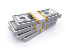 Pilas de las cuentas de dólar Imágenes de archivo libres de regalías