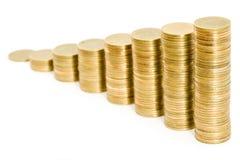 Pilas de las monedas Imágenes de archivo libres de regalías