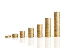 Pilas de las monedas aisladas en blanco Foto de archivo libre de regalías
