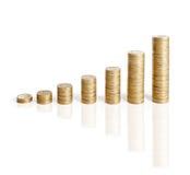 Pilas de las monedas aisladas en blanco Fotografía de archivo libre de regalías