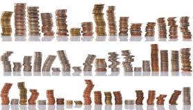 Pilas de las monedas, concepto financiero Foto de archivo