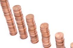 Pilas de las monedas de cobre Imágenes de archivo libres de regalías