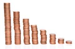Pilas de las monedas de cobre Fotos de archivo libres de regalías