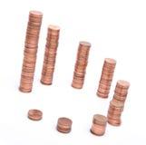 Pilas de las monedas de cobre Foto de archivo libre de regalías