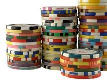 Pilas de las virutas del casino fotos de archivo libres de regalías