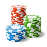 Pilas de las virutas del casino Fotografía de archivo libre de regalías