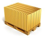 Pilas de lingotes del oro en la plataforma del envío stock de ilustración