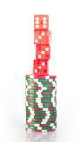 Pilas de los microprocesadores del casino Fotografía de archivo