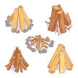 Pilas de madera y leña de la madera dura, sistema de madera del vector de la historieta de los registros stock de ilustración