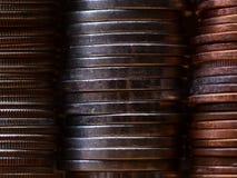 Pilas de monedas Fotos de archivo libres de regalías