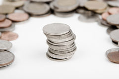Pilas de monedas foto de archivo