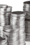 Pilas de monedas Fotos de archivo