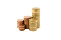 Pilas de monedas Fotografía de archivo