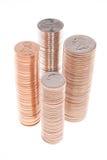Pilas de monedas Imagen de archivo