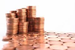 Pilas de monedas Imágenes de archivo libres de regalías