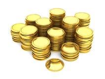 Pilas de monedas de oro Fotografía de archivo