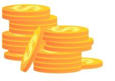 Pilas de monedas de oro Imagen de archivo libre de regalías