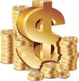 Pilas de monedas de oro con la muestra de dólar Imagen de archivo