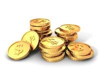 Pilas de monedas de oro de la moneda del dólar Imagen de archivo libre de regalías