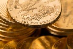 Colección de monedas de un oro de la onza Foto de archivo libre de regalías