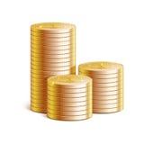 Pilas de monedas de oro, ejemplo del vector Fotografía de archivo libre de regalías