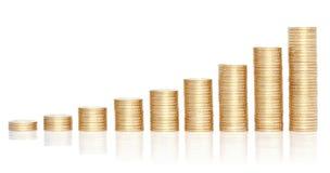 Pilas de monedas de oro en carta cada vez mayor. Fotografía de archivo