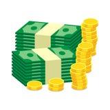 Pilas de monedas de oro y de efectivo del dólar ejemplo del vector en fla stock de ilustración