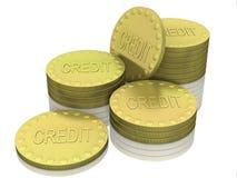 Pilas de monedas del crédito Fotografía de archivo