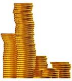 Pilas de monedas del dólar del oro ilustración del vector