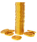 Pilas de monedas del dólar del oro Foto de archivo