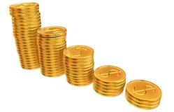 Pilas de monedas del dólar del oro Imagenes de archivo