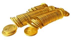 Pilas de monedas del dólar del oro Fotos de archivo libres de regalías
