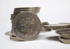 Pilas de monedas del dinero Imagen de archivo libre de regalías