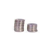 Pilas de monedas ucranianas de plata Fotografía de archivo libre de regalías