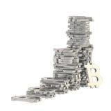 Pilas de muestras del bitcoin aisladas Foto de archivo