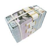 Pilas de nuevos 100 billetes de banco del dólar de EE Fotos de archivo libres de regalías