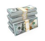 Pilas de nuevos 100 billetes de banco del dólar de EE Fotografía de archivo