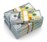 Pilas de nuevos 100 billetes de banco del dólar de EE. UU. Fotos de archivo libres de regalías