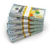 Pilas de nuevos 100 billetes de banco del dólar de EE. UU. Imagen de archivo libre de regalías