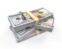 Pilas de nuevos 100 billetes de banco del dólar de EE. UU.