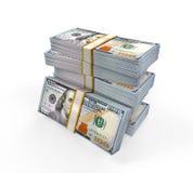 Pilas de nuevos 100 billetes de banco del dólar de EE. UU. Fotografía de archivo